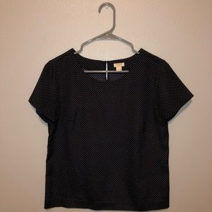 J. Crew Navy Polka Dotted Top
